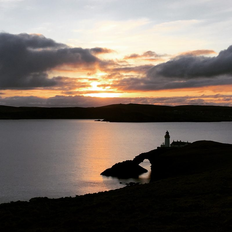 Lighthouse on the island of Bressay, Shetland. The Travelling Bookbinder