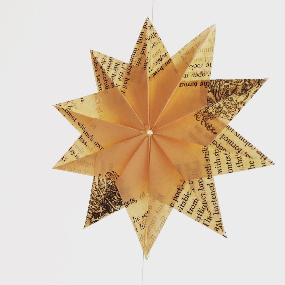 Upcycled paper origami star
