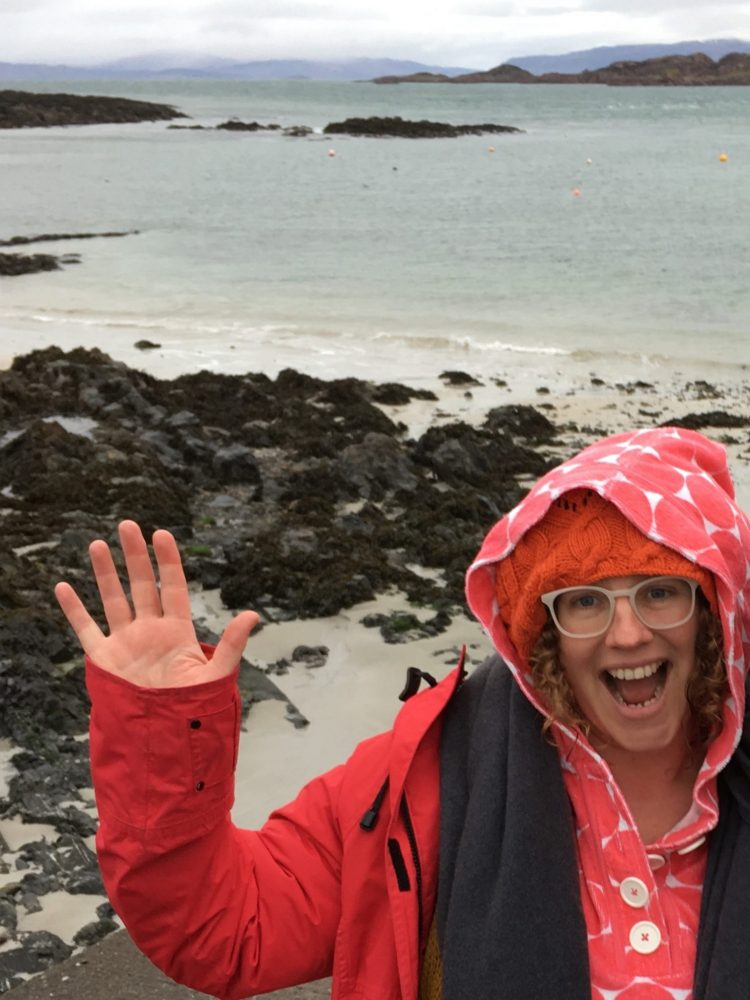 After chilly swim on January 1st, Iona, Hebrides, Scotland