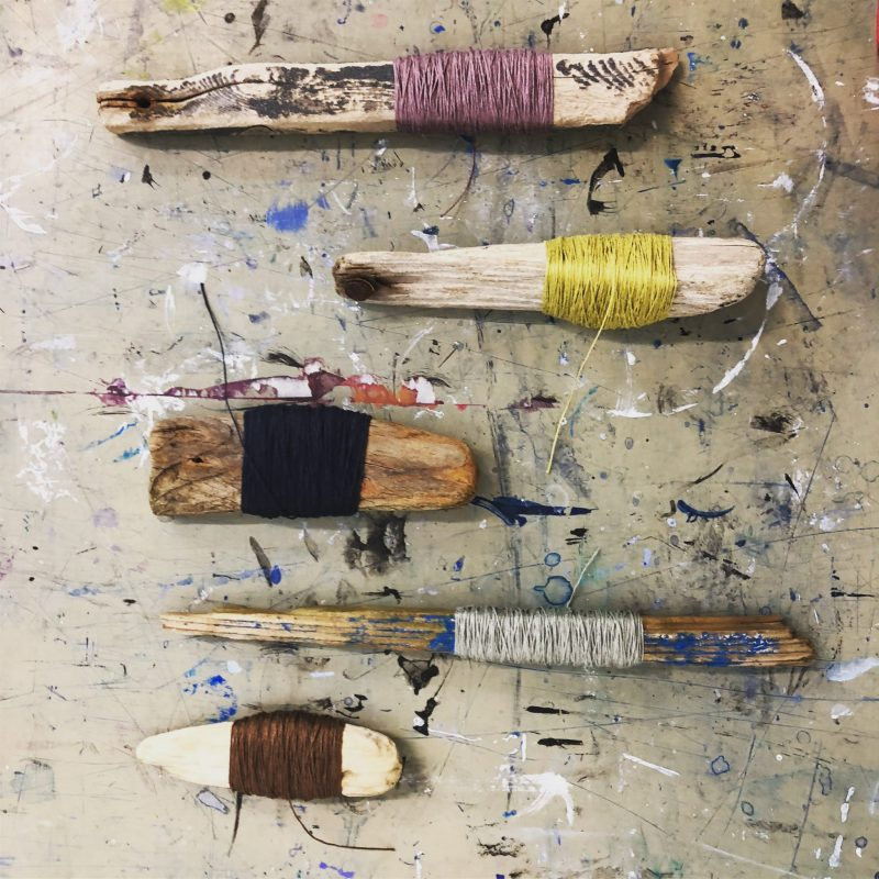 The Travelling Bookbinder film shoot. Driftwood bobbins with linen thread