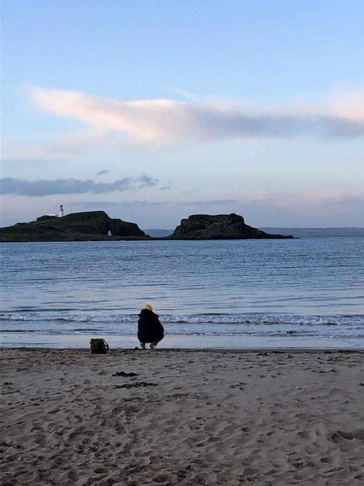 The Travelling Bookbinder film shoot. Fidra Island and Sarah Mason, film shoot loaction.