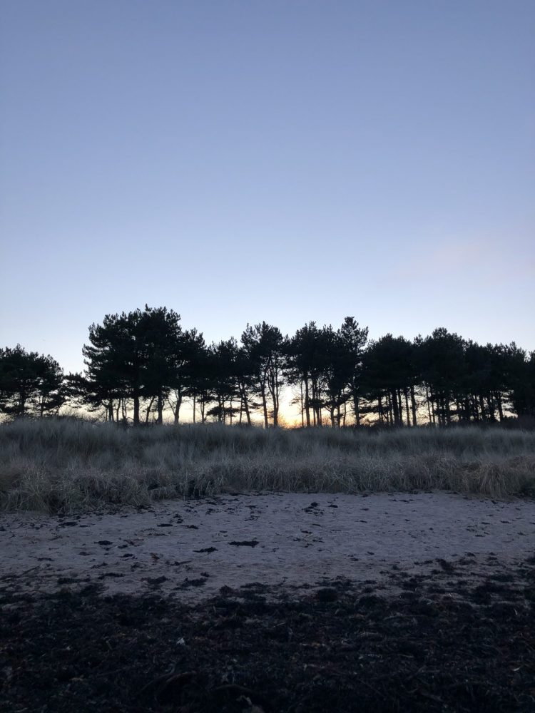 The Travelling Bookbinder film shoot. Evening at Yellowcraigs.