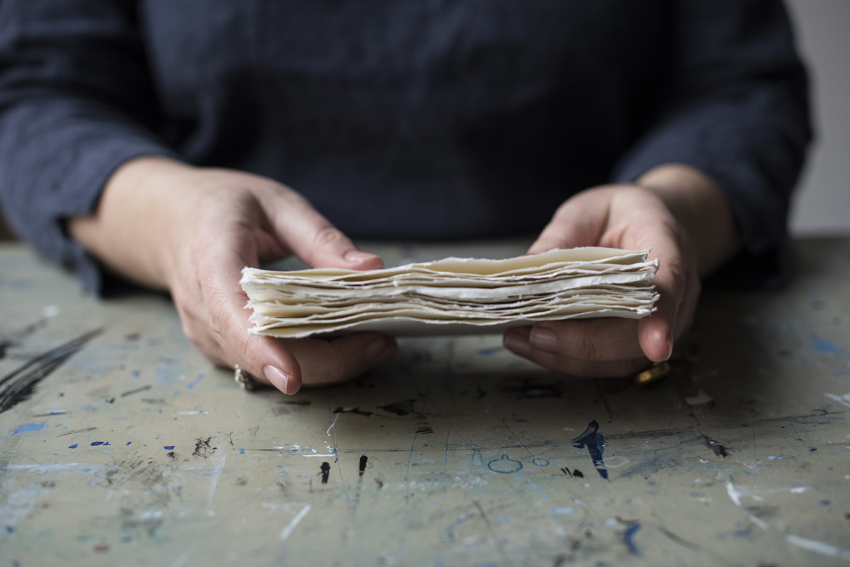 Cotton khadi pages from Bound: 15 Beautiful Bookbinding Projects by Rachel Hazell