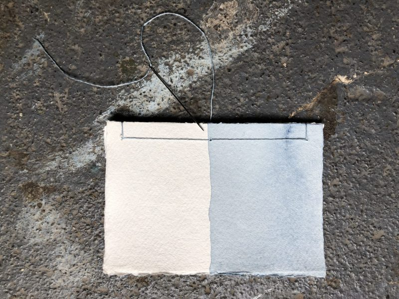 Make a stab binding with The Travelling Bookbinder - Final stitch