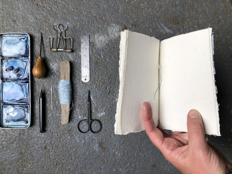 Make a stab binding with The Travelling Bookbinder - Reunite with tail
