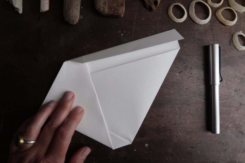 The Travelling Bookbinder: Mailart Origami Envelope. Tuck side under triangle