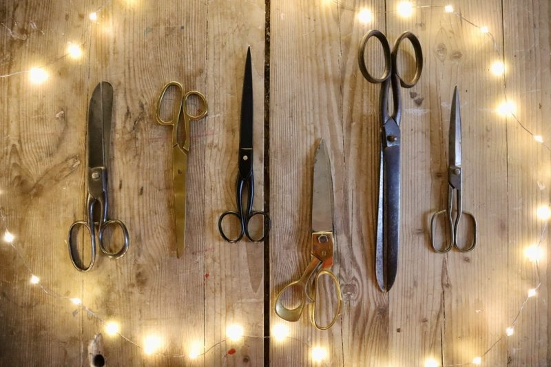 Scissors for WrapLove: A large pair for cutting big sheets and a smaller pair for ribbon and string
